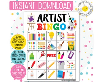 Artist / Art Party Printable Bingo Cards (30 Different Cards) - Instant Download