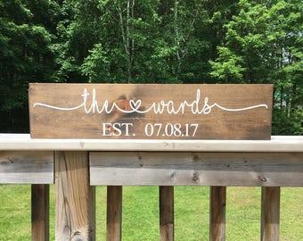 Bridal Shower Gift - Custom Name Sign - Wedding Gift - Last Name Sign - Wood Sign - Anniversary Sign - Gift for Couple - Gift for Bride