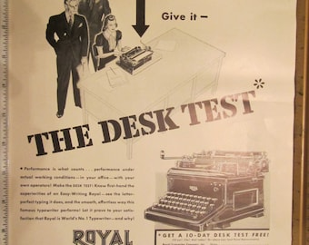 1937 ROYAL TYPEWRITERS, Worlds # 1 Typewriter ad with Davencrepes by Humming Bird ad of magazine ad.