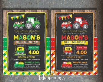 Tractor birthday invitation tractor invite farm tractor invite tractor birthday invitation farm birthday invitation farm tractor invite barn invite red tractor by busy bees happenings digital file filmwisefo