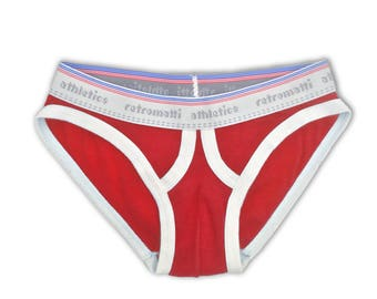 Retro ultra low rise briefs in red