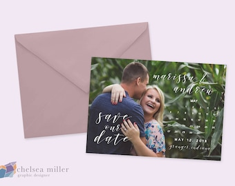 Wedding Save the Date, Calendar Calligraphy, Customized Personalized