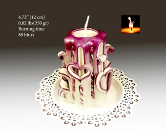 Gift for her, gift for women, unique gift for girlfriend, carved candle, Violet candle
