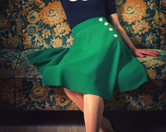 1940s Swing Pin Up Skirt Vintage Inspired Half Circle Skirt With Side Buttons by BlancheOfArts