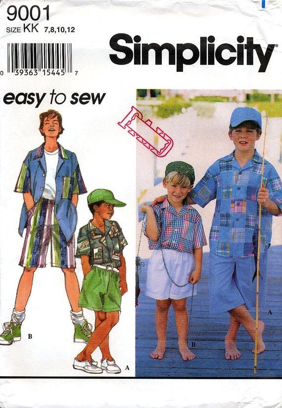 Einfachheit 9001 Schnittmuster für Jungen Shorts Camp-Shirt