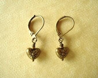 Brass Heart Earrings. Valentines Day Treasures.