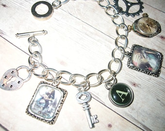 Steampunk Alice in Wonderland Handmade Altered Art, Charm Bracelet. . Picture Charms and Vintage Watch Movement.