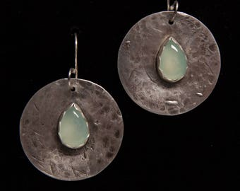 Round hammered sterling silver earrings with pear shaped aqua chalcedony