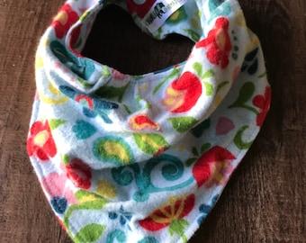 Toddler drool bib, bandana slouch bib, floral scroll bib, colorful flower slouch bib