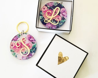 Floral Monogram Keychains - Bridesmaids - Bridal Party Gifts - Maid of Honor