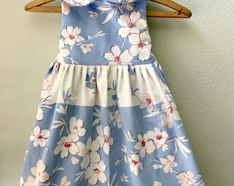 Little Girls Dress, Vintage Fabric, Vintage 1930's Tablecloth, One of a Kind, Size 5, Summer Beach Dress, Blue and White Print Childs Dress