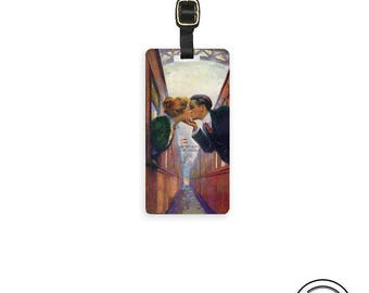 Personalized Kiss Between Trains Luggage Tag Personalized Custom Luggage Tag - Metal Single Tag