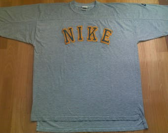 NIKE t-shirt, vintage gray basketball jersey, old school 90s hip hop clothing, 1990s, cotton shirt, size M Medium RARE