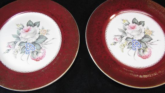 Like this item? & Imperial Salem China Plates Tudor Rose Pattern Maroon