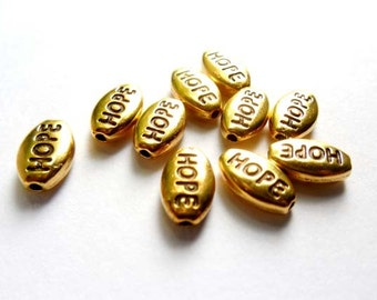 10 Antique Gold Hope Beads - 22-3-6