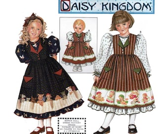 """Girl's Dress and Pinafore and Matching Doll Dress for 18"""" Doll Sewing Pattern Child Size 3-4-5-6 Uncut Daisy Kingdom Simplicity 9434"""