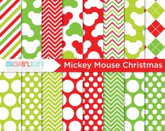 Digital Paper - Mickey Mouse Christmas, mickey mouse paper, mickey mouse clipart, micky and minnie, minnie mouse paper, minnie mouse