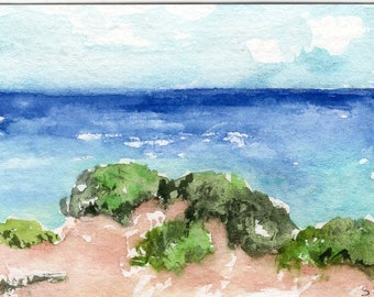 ACEO Aruba Original Watercolor Painting, Sand Dunes at Arikok National Park Aruba Seascape
