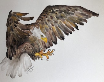 "Eagle watercolor illustration original 11""x14"""