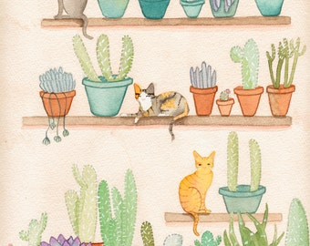 Cats in the Succulent Room - Original Cat Folk Art Watercolor Painting