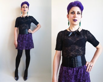 SALE 30% off 90s Clothing/ 1990s Lace Dress Black and Purple Vintage Floral Lace Dress Grunge Goth Punk Dress Size Small