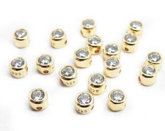 Tiny Gold Over Sterling Silver Cast Single Rhinestone Charm Pendant (LA-150)