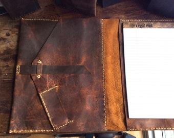 Handmade iPad padfolio, Custom rugged leather iPad padfolio organizer with notepad, Brown leather portfolio iPad pro holder, Custom Made