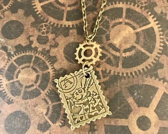 Necklace steampunk recto/verso stamp