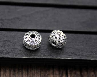 10mm 11.5mm Sterling Silver Bead,Sterling Silver Spacer Bead,Flat round spacer bead, Silver spacer, Sterling silver beads spacer