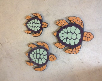 Free shipping, Sea turtles, turtles, tile mosaic turtles, garden decor, garden statues, tile mosaic, fence ornament,