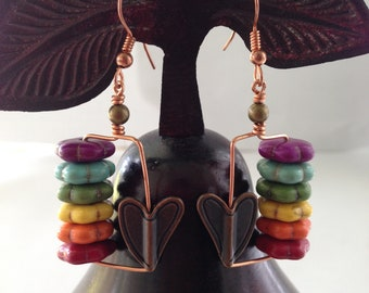 Magnesite/Copper Earrings: Rainbow Dyed Magnesite Flower Rondelle, Antiqued Brass Heart, Brass Bead & Copper Earrings