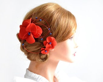 Wedding hair piece Red and navy fascinator Headpiece Bridal hair flower Wedding hair comb Flower hair clip Bridal hair comb