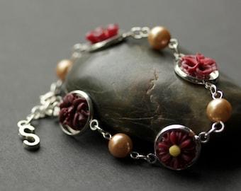 Maroon Flower Bracelet. Dark Red Flower Bracelet. Personalized Bracelet. Burgundy Flower and Pearl Bracelet in Silver. Handmade Bracelet.