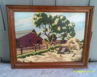 "Vintage Framed Paint by Number Country Barn with Horse, 19"" by 15"", Vintage PBN, Barn and Horse Picture, Red Barn Painting, PBN Barn"