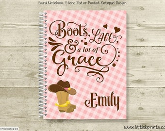 Boots Lace Grace Personalized Spiral Notebook Journal Prayer Journal Diary