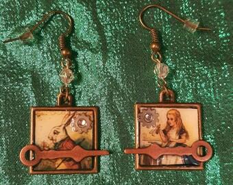 Steampunk Alice in Wonderland & White Rabbit dangle earrings.