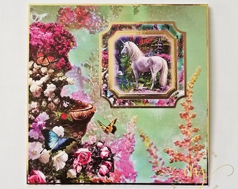 Unicorn Utopia card; Easel card; Handmade card; Greeting card; 3D card