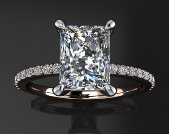 shay ring - 1.8 carat radiant cut NEO moissanite engagement ring, radiant cut ring