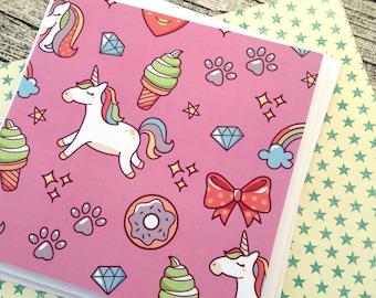 Kawaii stationery, Kawaii greeting cards, Birthday card, Cute snail mail, Pen pal card, Happy mail stationery, Rainbows, Unicorn,
