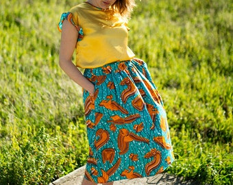 Long fantasy skirt in WAX 100% cotton with pockets