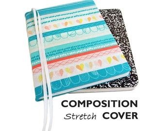 Bullet Journal Notebook Cover, Composition Book Cover TURQUOISE HEARTS & STRIPES Stretch Fabric Planner Cover, Bullet Journal Accessories