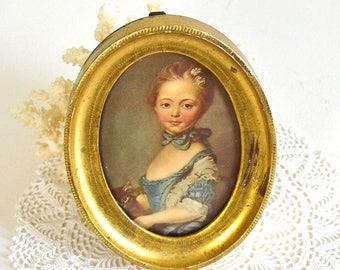 vintage florentine frame french provincial lady print oval gold florentine frame