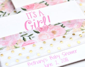 It's a Girl Hair Ties, Floral Hair Tie Shower Favors, Baby Shower Hair Ties, Pink It's a Girl Hair Ties, Baby Favors, Baby Girl Favors