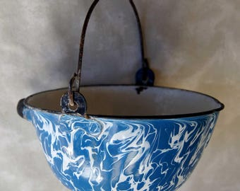 GRANITEWARE Pot, Pan or Bucket with Bail Handle, Side Handle and Pouring Indentation - Unusual with VINTAGE Blue SWIRL from Early 1900's