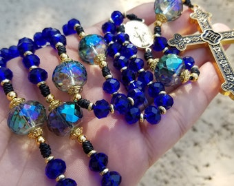 Miraculous Medal, Royal Blue  and Gold tone Faceted Crystal Pater Beads,  and Byzantine cross