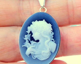 Black And White, Natural Agate Cameo, Sterling Silver, Laser Cut, Cameo Necklace, Genuine Cameo