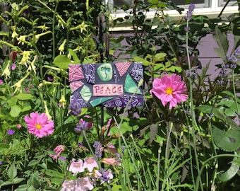 Mosaic  Dragonfly Peace Affirmation Sign Purple, Pink and Green