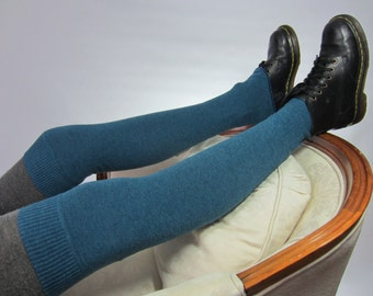 Teal Blue Over the Knee Sock Leg Warmers Boot Socks Knit Women's Turquoise Thigh Highs A1501
