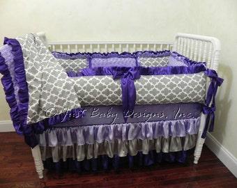 Baby Crib Bedding Set Melania - Baby Girl Bedding, Lavender and Gray Baby Bedding, Purple Satin