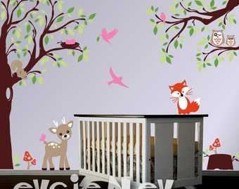 Baby Nursery Woodland Large Wall Decal - Deer, Fox, Squirrels, Owls  in the Wood Wall Stickers -Wall Decals for Kids Vinyl Decals -  PLFR040